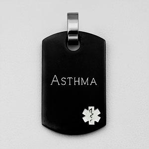 Black Asthma Pendant w White Medical Symbol